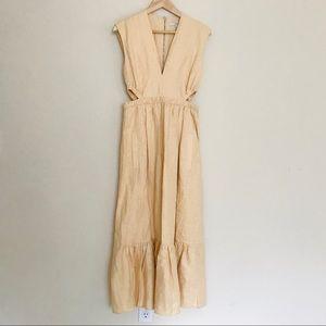 Tibi Cream Canvas Cutout V Neck Midi  Dress SZ 4